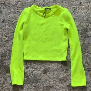 Zara neon Yellow crop top